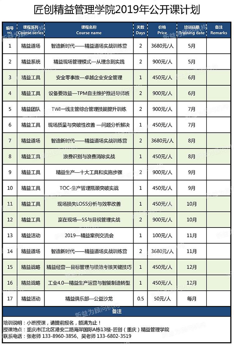 匠创(重庆)精益管理学院2019年公开课计划